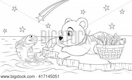 Vector Illustration, A Polar Bear Cub Catches A Fish On An Ice Floe At Night, Lower Coloring.