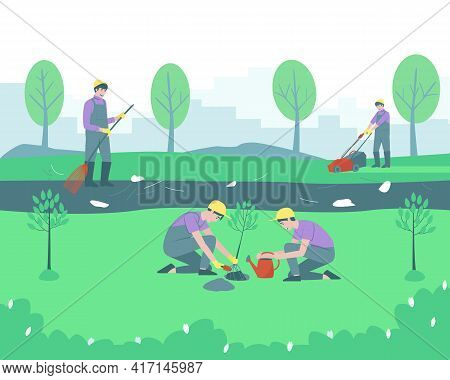 Gardeners And Volunteers Are Cleaning The Park. Trees Are Planted. The Man Removes The Rubbish, Swee