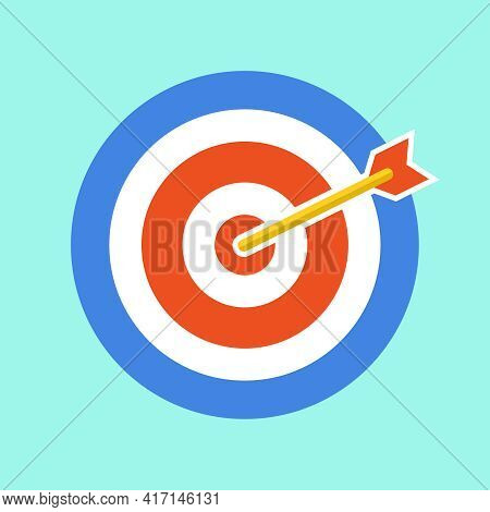 Circle For Playing Darts. Darts On A Light Green Background. Vector, Cartoon Illustration. Vector.
