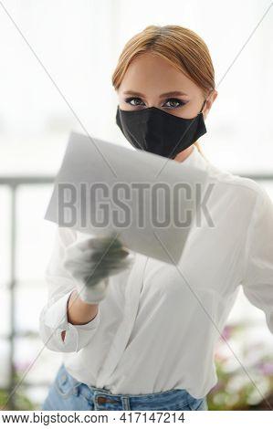 Woman Open Glass Door