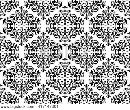 Wallpaper In The Style Of Baroque. Seamless Vector Background. White And Black Floral Ornament. Grap
