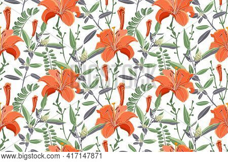 Vector Seamless Floral Pattern. Orange Color Lilies, Daylilies, Green Wormwood, Quinoa.