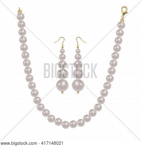 Pearl Beads And Pearl Earrings On A White Background, Precious Jewelry, Vector Format