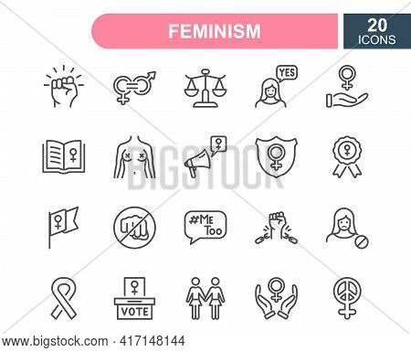 Feminism Line Icons Set. Empowerment Girl, Gender Equality, Rights Of Women, Girl Power, Sex Discrim