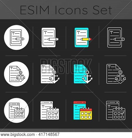 Seo Copywriting Dark Theme Icons Set. E Book Writing. Anchor Text For Website. Professional Journali