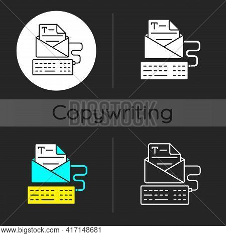 Newsletter Copywriting Dark Theme Icon. Copywriting Services. Typing With Keyboard. Writing Text. Re