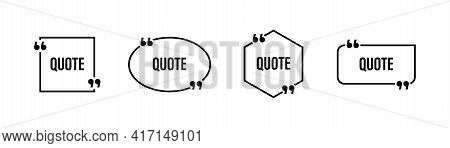 Quote Box Frame. Quote Box Icon.quotes Symbols Blank Template Elements. Stock Vector