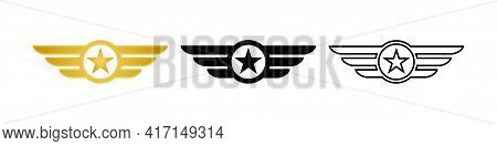 Wing With Star Icon. Military Badge. Army Wings Symbol. Wings Army Collection Signs. Stock Vector