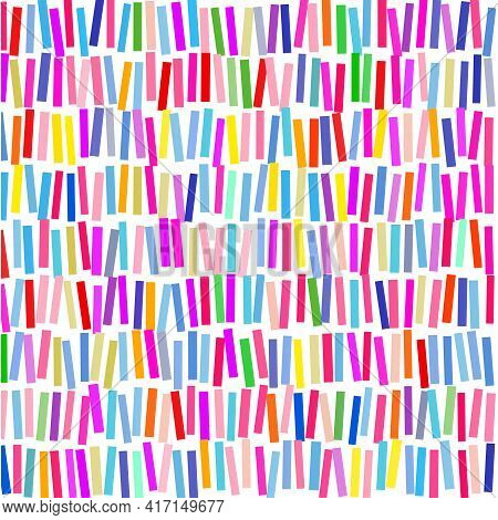 Pattern Of  Multicolored Sticks  On White Background