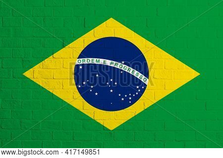 Flag Of Brazil. Brick Wall Texture Of The Flag Of Brazil.