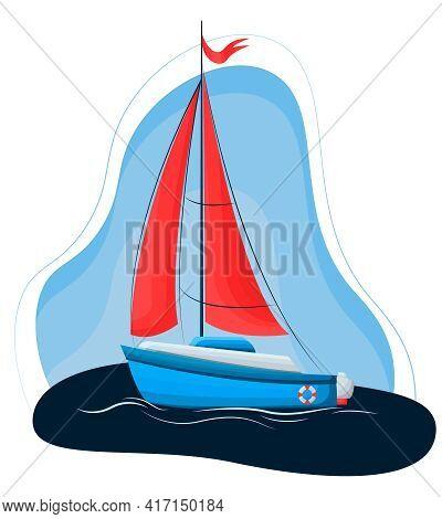 Vector Drawing Of A Sailing Boat. Luxury Marine Sailing Regatta Banner Vector Illustration. Yacht Wi