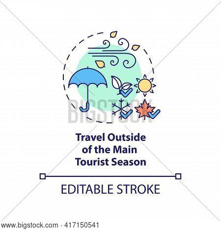 Travel Outside Of The Main Tourist Season Concept Icon. Sustainable Tourism Ideas. Tourism Season Id