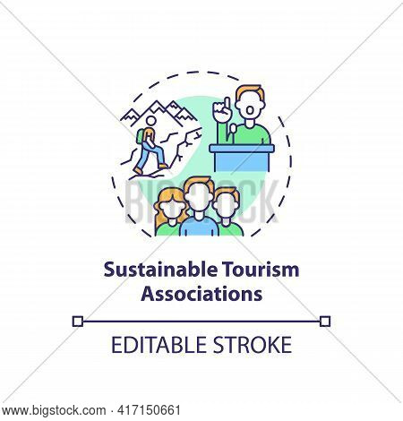 Sustainable Tourism Associations Concept Icon. Best Sustainable Tourism Practices. Making Tourism Po