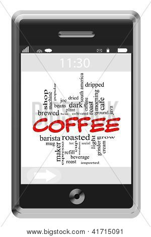 Coffee Word Cloud Concept On Touchscreen Phone
