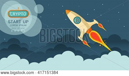 Rocket Flying Over Clouds With Bitcoin In The Space Logo Icon  In Flat Style With Copy Space. Busine