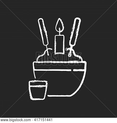 Rice Bowl Chalk White Icon On Black Background. Chinese Funeral Tradition. Upright Sticking Chopstic