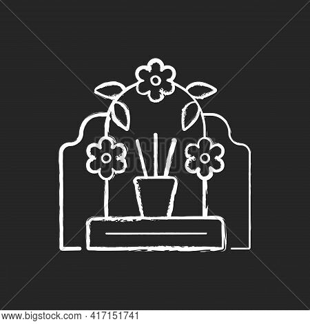 Tomb Sweeping Day Chalk White Icon On Black Background. Qingming Festival. Chinese Memorial Day. Pom