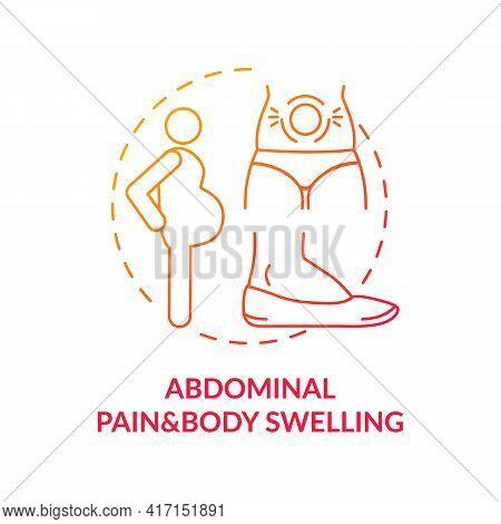 Abdominal Pain And Body Swelling Concept Icon. Liver Disease Symptom Idea Thin Line Illustration. Ga
