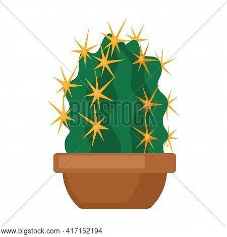 Houseplant Cacti Vector Cartoon Icon. Vector Illustration Cactus On White Background. Isolated Carto