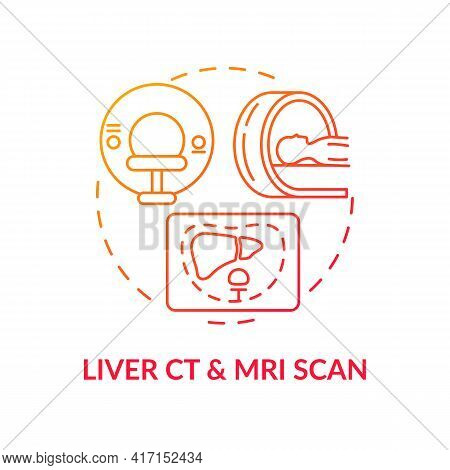 Liver Ct And Mri Scan Concept Icon. Liver Cancer Diagnosis Idea Thin Line Illustration. Computed Tom