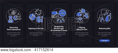 Hepatic Functions Onboarding Mobile App Page Screen With Concepts. Clotting, Toxicity Removal Walkth