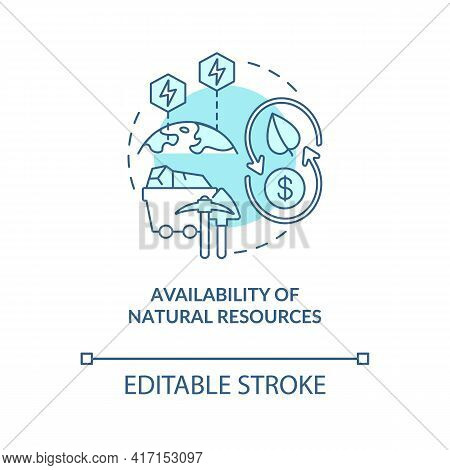 Natural Resources Availability Concept Icon. Energy Security Idea Thin Line Illustration. Consumptio