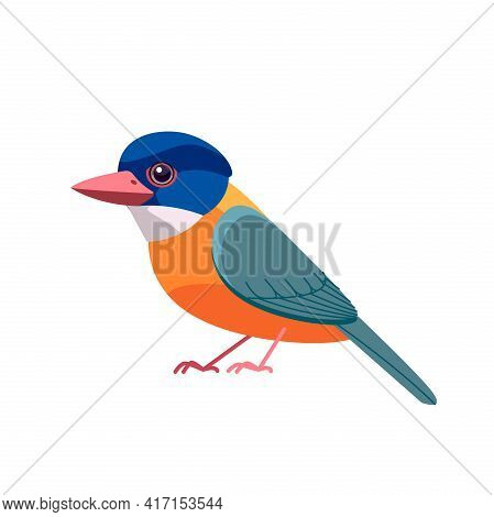 Kingfisher Bird Green-backed Kingfisher. Alcedo At This. Cartoon Bird, Beautiful Character Of Ornith