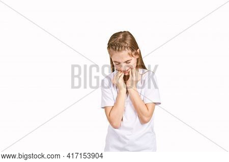Children Portrait In White T-shirt. Studio Isolated Concept. Toothache Problem. Dental Care. Bad Fac