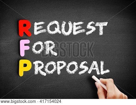 Rfp - Request For Proposal Text On Blackboard, Business Concept Background