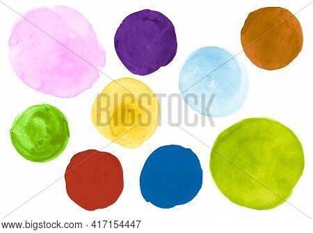 Watercolor Circles Set. Ink Hand Paint Splash Template. Abstract Illustration With Drop On Paper. Br