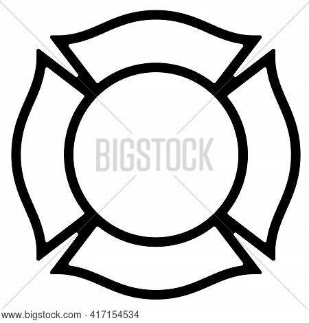 Blank Firefighter Maltese Cross Outline Isolated Vector Illustration