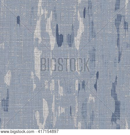 Seamless French Farmhouse Woven Linen Doodle Texture. Ecru Flax Blue Hemp Fiber. Natural Pattern Bac