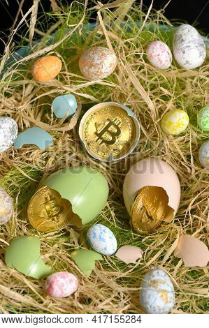 Galati, Romania - April 13, 2021 Studio Shot Of Golden Bitcoin Currency And Easter Eggs