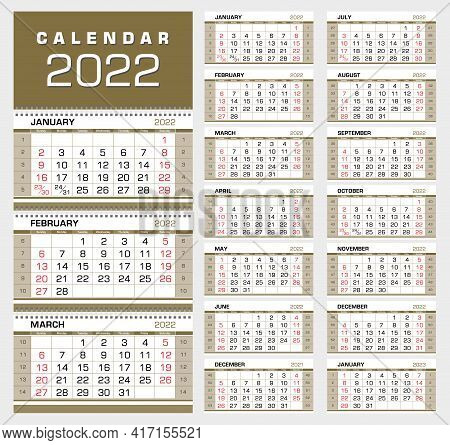 Calendar 2022. Wall Quarterly Calendar With Week Numbers. Week Start From Sunday. Ready For Print, C