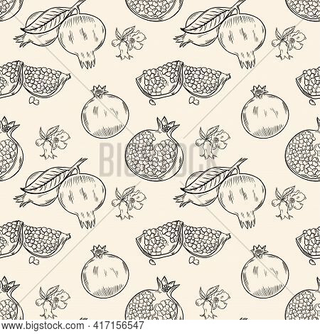 Seamless Background With Pomegranate Fruits. Whole Pomegranates, Halves And Flowers. A Repeating Con