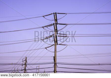 Electricity Pole Against Blue Sky Clouds, Electricity Transmission Pylon