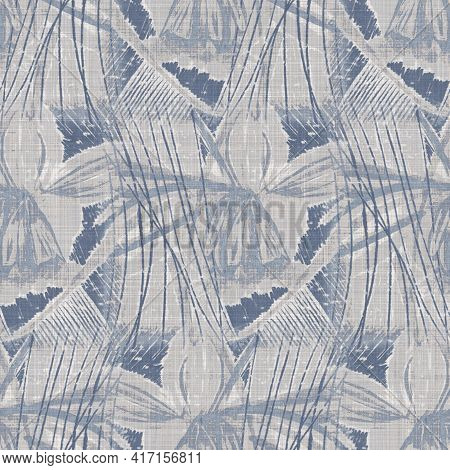 Seamless French Farmhouse Geo Abstract Linen Printed Fabric Background. Provence Blue Gray Pattern T