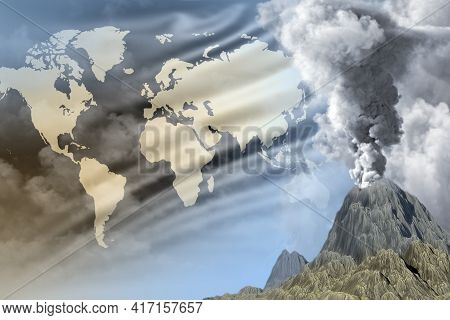 Conical Volcano Blast Eruption At Day Time With White Smoke On World Flag Background, Problems Of Er