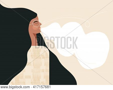 Calm Breathing Woman With Closed Eyes African American Female Character Practice Deep Breathing. You