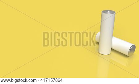 Alkaline Battery On Yellow Background For Technology Concept 3d Rendering