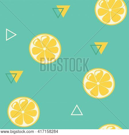 Lemon Slices Seamless Pattern. Yellow Fresh Fruit Slices Top View Ornament With Geometric Elements O