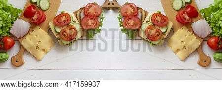 Sandwich On A Tray. Sandwich With Red Fish And Herbs. A Sandwich. Morning Sandwich. Banner. Copyspac