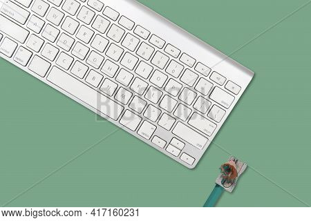 Serie Concept Of Office Objects On Colorful Background