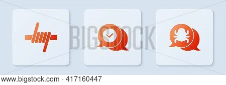Set Check Mark In Speech Bubble, Barbed Wire And System Bug. White Square Button. Vector
