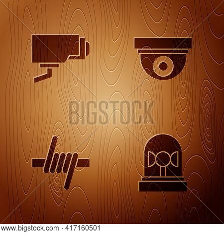 Set Flasher Siren, Security Camera, Barbed Wire And On Wooden Background. Vector