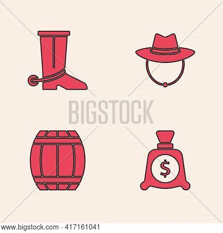 Set Money Bag, Cowboy Boot, Western Cowboy Hat And Gun Powder Barrel Icon. Vector