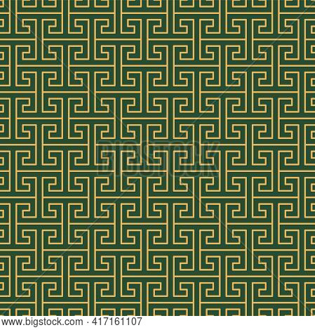 Greek Key, Fret Traditional Abstract Geometric Seamless Pattern, Gold On Green Background. Vector Il