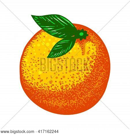Bright Fluorescent Whole Orange With Two Green Leaves With Pointillism Elements. Vector Illustration