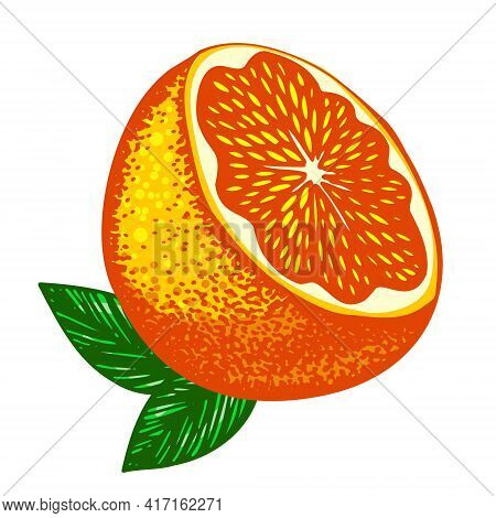 A Bright Fluorescent Cut Orange With Two Green Leaves. Vector Friuts Design Elements Isolated On Whi
