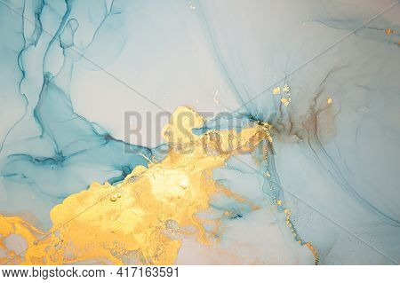 Gold Abstract Background Liquid. Alcohol Inks Drops. Multicolor Wave Illustration. Ink Acrylic Desig